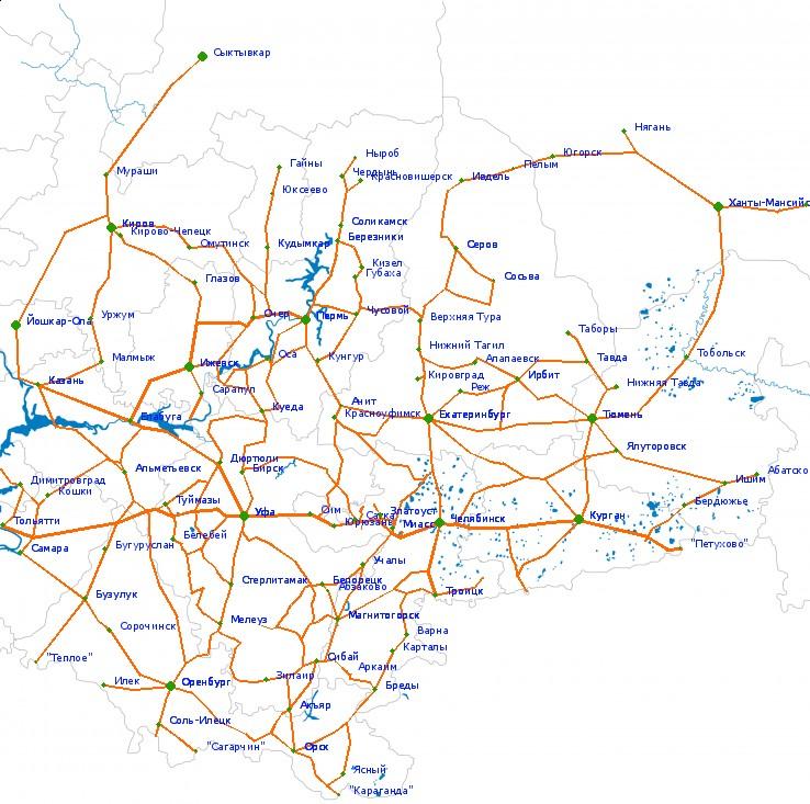 Карта автодорог России оставил