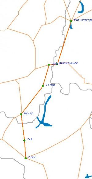 Карта-схема автодороги Магнитогорск - Орск.